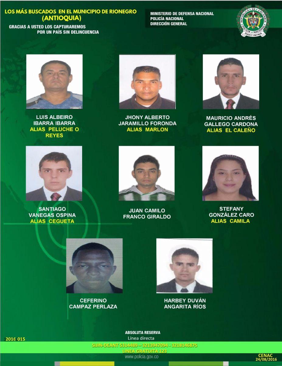 Photo of los delincuentes más buscados de Rionegro