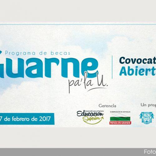 Abierta la convocatoria para el programa de becas Guarne pa` la U