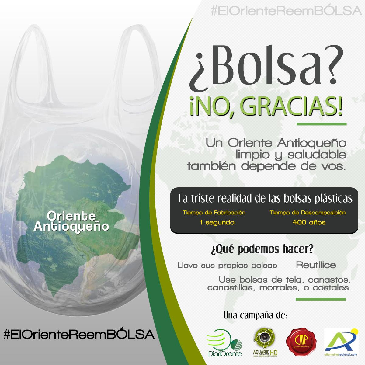 Photo of Campaña para la reducción del consumo de bolsas plásticas #ElOrienteReemBÓLSA