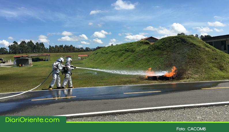 Photo of En la base área de Rionegro se realizó simulacro por derrame de líquidos inflamables