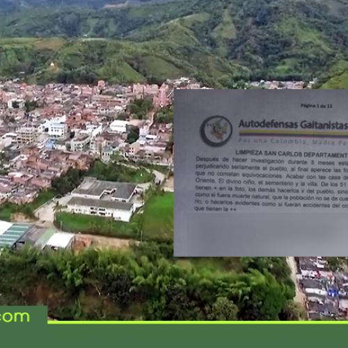 Panfleto que amenaza con limpieza social atemoriza habitantes de San Carlos